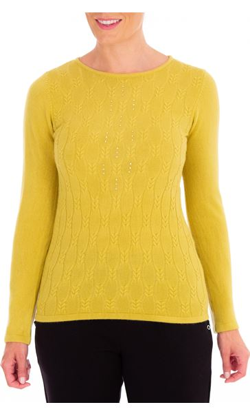 Anna Rose Cable Design Knit Top Lime