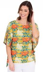 Floral And Striped Jersey Top Pear/Sea Blue/Orange - Gallery Image 1