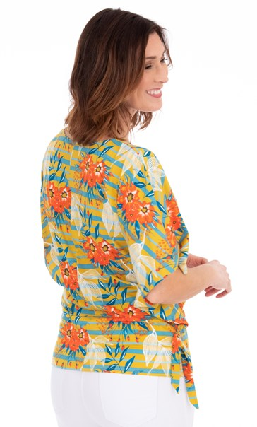 Floral And Striped Jersey Top Pear/Sea Blue/Orange - Gallery Image 2