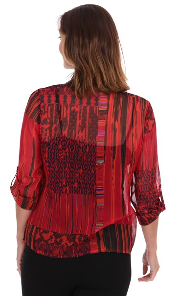 Printed Chiffon Tie Front Blouse