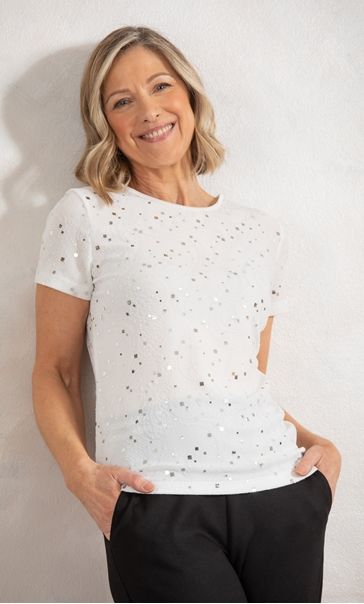 Anna Rose Textured Shimmer Short Sleeve Top - Ivory