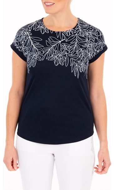 Anna Rose Embellished Jersey Top - Blue