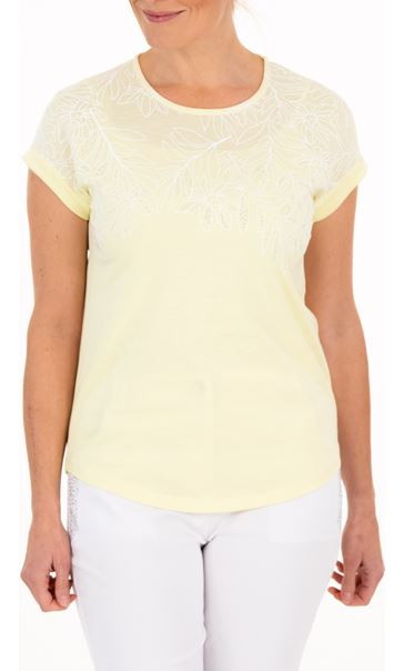 Anna Rose Embellished Jersey Top - Yellow