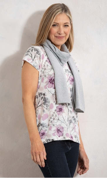 Anna Rose Garden Print Knit Top With Scarf
