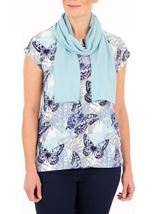 Anna Rose Butterfly Print Knit Top With Scarf
