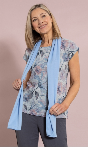 Anna Rose Floral Print Knit Top With Scarf