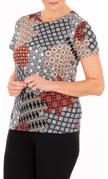Anna Rose Tile Print Short Sleeve Top