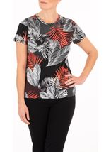 Anna Rose Textured Leaf Print Top