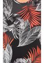 Anna Rose Textured Leaf Print Top Black/Coral - Gallery Image 3