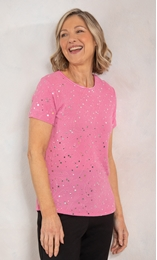 Anna Rose Textured Shimmer Short Sleeve Top