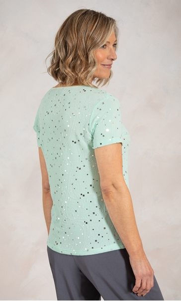 Anna Rose Textured Shimmer Short Sleeve Top - Mint