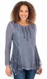 Knit And Lace Dip Hem Tunic