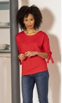 Tie Cuff Jersey Top Red - Gallery Image 1