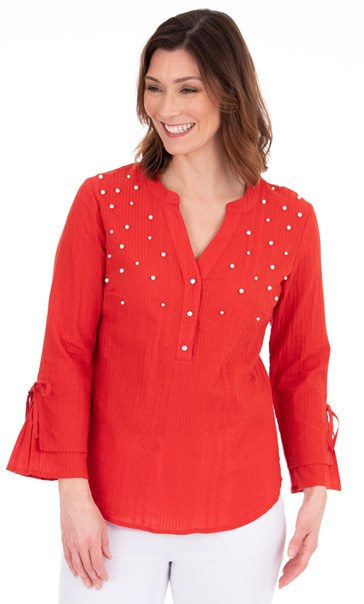Faux Pearl Embellished Cotton Top Red