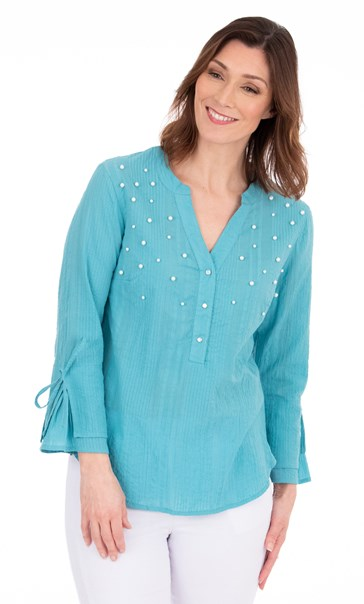 Faux Pearl Embellished Cotton Top Sea Blue