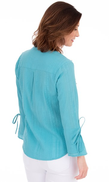 Faux Pearl Embellished Cotton Top - Sea Blue