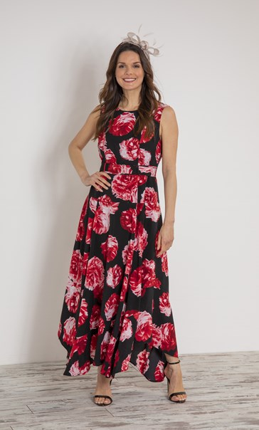 Floral Printed Sleeveless Maxi Dress With Belt