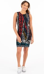 Printed Stretch Shift Dress