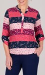 Anna Rose Floral And Stripe Top Pink Multi - Gallery Image 1