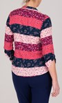Anna Rose Floral And Stripe Top Pink Multi - Gallery Image 2