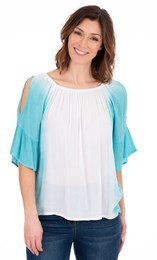 Dip Dye Cold Shoulder Top