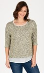 Shimmer Layered Knit And Fabric Top Beige/Cream - Gallery Image 2