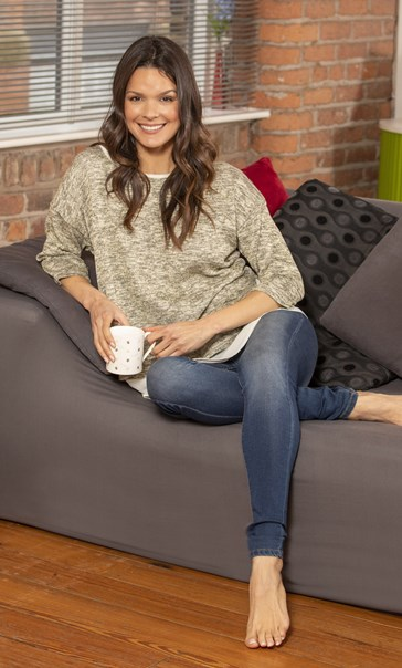 Shimmer Layered Knit And Fabric Top