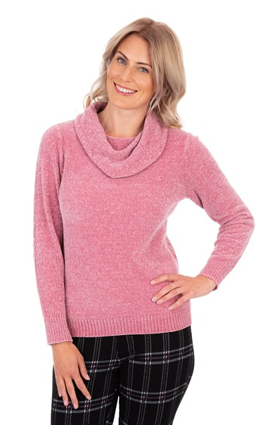 Cowl Neck Long Sleeve Chenille Top Dusky Pink