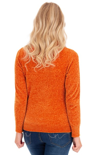 Cowl Neck Chenille Knit Top - Orange
