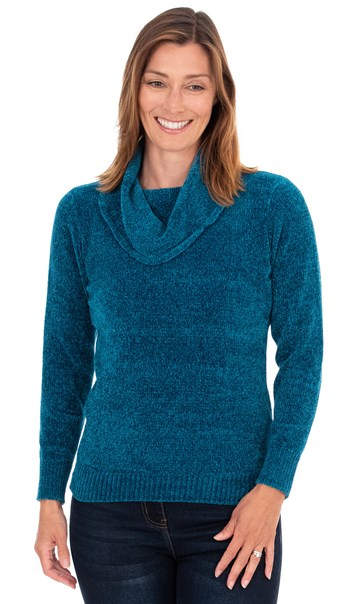 Cowl Neck Long Sleeve Chenille Top Teal