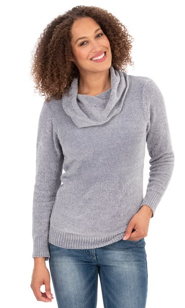 Cowl Neck Chenille Top - Light Grey