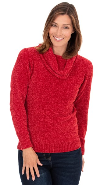 Cowl Neck Long Sleeve Chenille Top Ruby