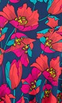 Bold Floral Print Midi Skirt Navy/Red - Gallery Image 4