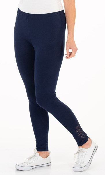 Full Length Lace Trim Jersey Leggings Navy