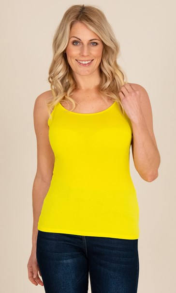 Adjustable Strappy Jersey Cami Top - Yellow