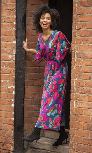 Bold Floral Printed Maxi Dress Navy/Red