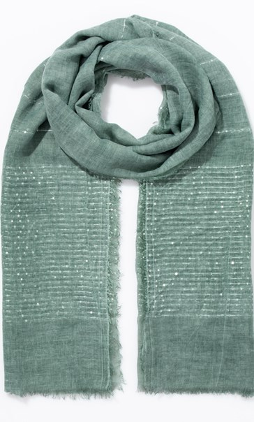 Embroidered Stripe And Sequin Scarf Green