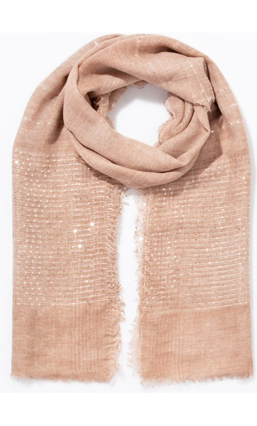 Embroidered Stripe And Sequin Scarf - Peach