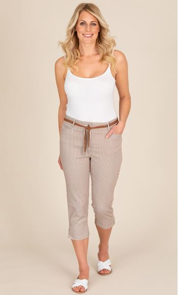 Striped Cropped Trousers Brown/White