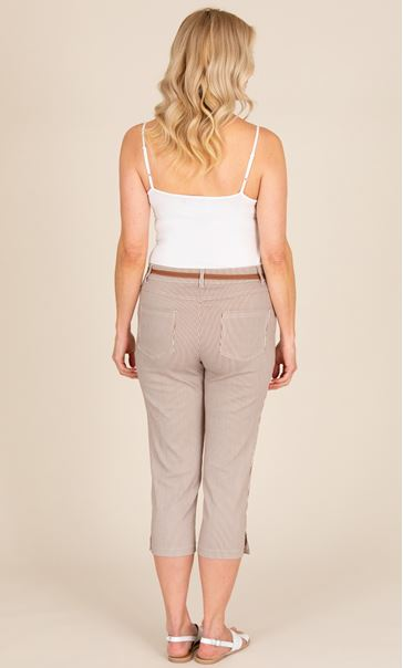 Striped Cropped Trousers - Brown/White