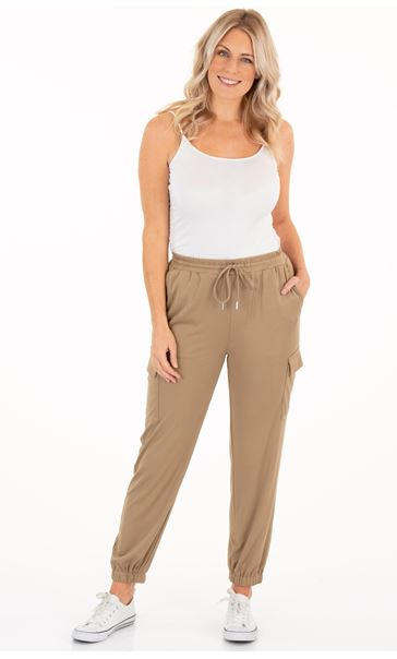 Cuffed Hem Pull On Jersey Trousers Mink