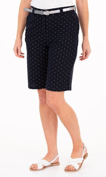 Anna Rose Spotted Linen Blend Belted Shorts Navy/White