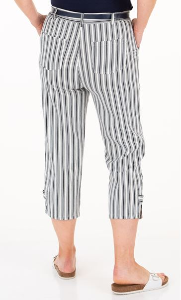 Anna Rose Linen Blend Cropped Trousers With Belt