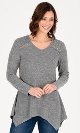 Long Sleeve Hanky Hem Lightweight Knit Top