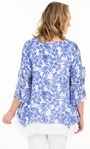 Crinkle Double Layer Cotton Top White/Sapphire - Gallery Image 2