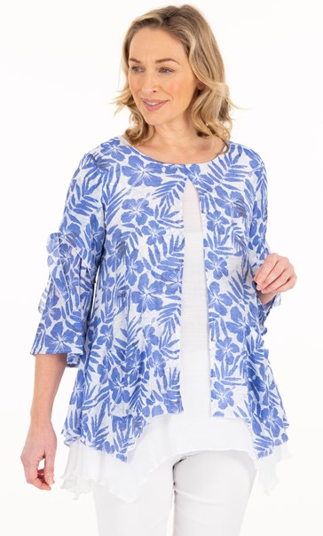 Crinkle Double Layer Cotton Top White/Sapphire