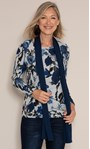 Anna Rose Brushed Top With Scarf Black/Grey/Blue - Gallery Image 1