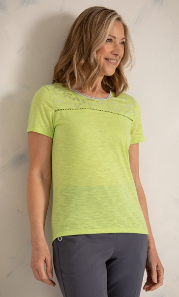 Anna Rose Short Sleeve Jersey Top Lime