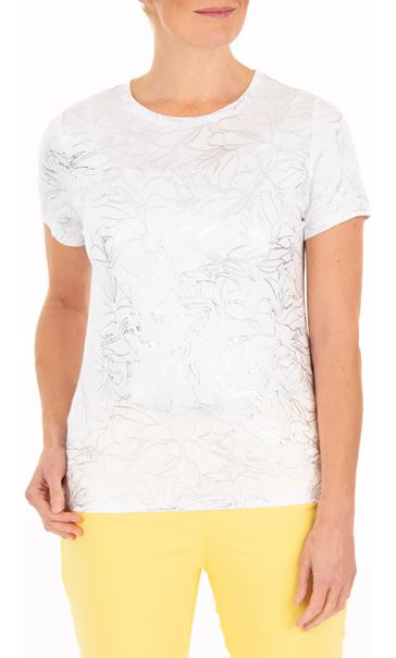 Anna Rose Floral Shimmer Jersey Top White