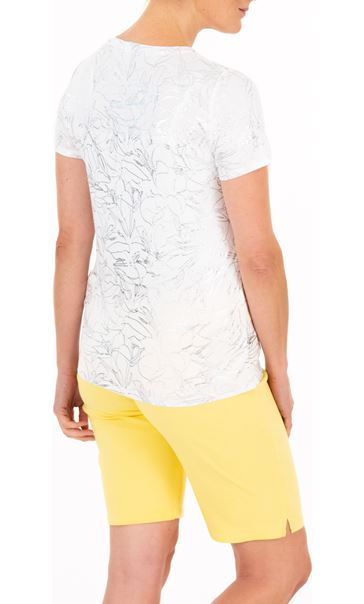 Anna Rose Floral Shimmer Jersey Top - White